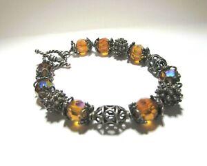 Bali Sterling Silver Swarovski Crystal BRACELET Toggle Orange Brutalist M