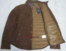 Rare design $1195 polo Ralph Lauren suede lambskin down shirt jacket coat M