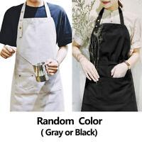 Waterproof Cotton Aprons for Women Men Kitchen Cooking Art Random Color