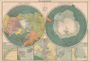 Polar Regions. Arctic/Antarctic sea chart. Steamer routes. LARGE 1918 old map