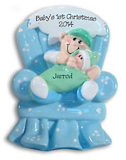 Baby Boy in Green Blanket 1st Christmas Personalized Ornament Hand Painted RESIN