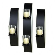 Black Wall Candle Holders brand black metal clear glass contemporary wall sconce trio holds