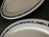 2  RARE ANTIQUE O.P. CO. SYRACUSE China SHIRLEY OVAL PLATTERS RESTAURANT WARE