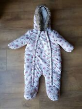 F&F BABY GIRL SNOW PRAM SUIT Pink Floral Snowsuit Winter 3-6 Months - VGC