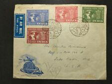 India FDC UPU Cachet Registered Cover Airmail USA Nagpur 1949 Set Sc# 223 226