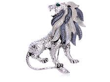 Silver Tone Grey Enamel Painted Mane Lion Rhinestone Pin Brooch Fashion Jewelry