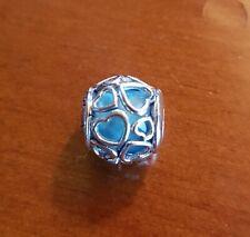 Charm PANDORA Apri il Tuo Cuore Azzurro Cielo in argento 925 Nuovo Originale