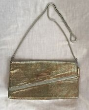 Vintage 1970s Glomesh Made in Australia Gold Disco Clutch Metal Strap Bag 10x5""
