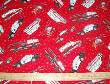 Cotton Fabric Emergency Vehicles with stars on the RED  background BTY