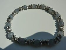 BRACELET AIGUE MARINE 6MM FACETEE& ARGENT DU TIBET