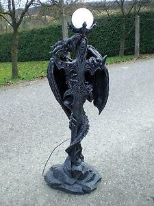 DRACHE Stehlampe Schwert Lampe 140 cm hoch Kunstharz Drachenlampe Neu