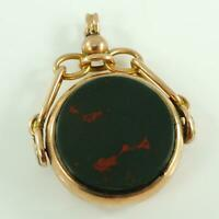 Antique Hallmarked 9 Carat Rose gold Swivel Fob Bloodstone Chester Dated 1889