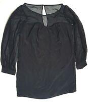 *Final Clearance Sale* LEONA Leonard 6 Lila Dress Sheer Silk Mini Short Black