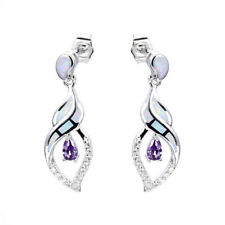 Fashion Woman Purple Crystal White Imitation Opal Silver Pendant Earring Jewelry
