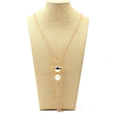 Fashion Women's Pearl Charm Long Chain long Sweater Chain Tassel Necklace new