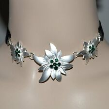 Edelweiss Necklace Traditional Jewelry Choker Emerald Green Black Necklace