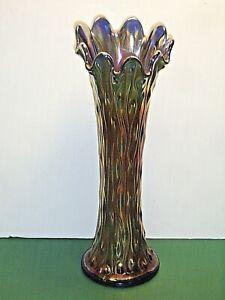 "Vintage Northwood Tree Trunk 10-3/4"" Iridescent Amethyst Carnival Glass Vase"