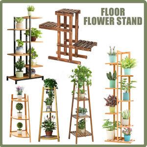 Wooden Plant Stand Flower Display Rack Metal Outdoor Indoor Shelf Garden Decor
