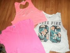 VS Victoria's secret PINK ~ tank top t-shirt shirt lot of 3 ~ medium large