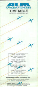 ALM Antillean Airlines system timetable 10/25/87