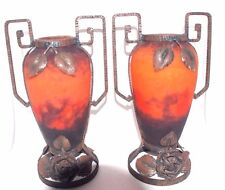 Ca.1900's Art Deco Muller Freres Luneville France Glass & Hammered Iron Vases