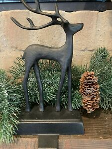 NIB Pottery Barn Christmas Santa's Sleigh REINDEER DEER Stocking Holder BRONZE