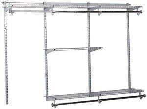 Rubbermaid Configurations 3-6 Feet Custom DIY Closet Organizer Kit, Titanium