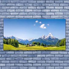 Leinwand-Bilder Wandbild Leinwandbild 140x70 Felder Baum Gebirge Landschaft