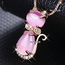 XMAS GIFTS FOR HER Pink Moonstone Cat Animal Necklace Gold Daughter Sister A108