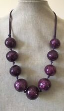 Purple Beaded EAST Necklace Chunky Bold Statement Colour Pop Large Beads Cord