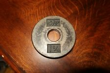 "VINTAGE CAP 1 1/4  1.25 Cast Iron Barbell Weight Plate 1"" diam hole DISNEY PROP"