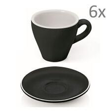 Tazas de Espresso Set 12 Piezas Negro Porcelana con Platillo Pared Gruesa 90ml