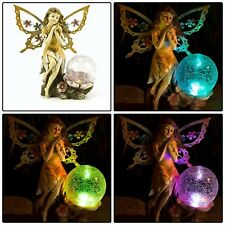 Garden Statue Fairy W Globe Solar Powered LED Lawn Ornaments Outdoor Patio Decor