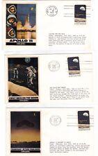 APOLLO 11 Folio-Print 3 Covers 7/16 Launch 7/20 Moonland 7/24 Splashdown 1969 !!