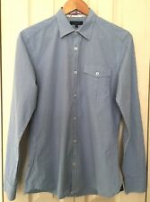 Ted Baker Mens White and Blue Plaid 100% Cotton Long Sleeve Shirt Size 3 M