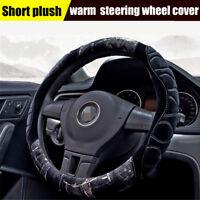Black+Gray Genuine Short plush Car Steering Wheel Cover Warm Anti-slip