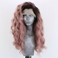 Long Ombre Black Pink Body Wave Synthetic Lace Front Wig Side Part Heat Safe