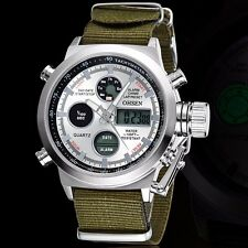 Casual Military Men Tactical Sport Army Quartz Digital Analog Wrist Watch Nylon