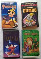Dumbo, Fantasia, Robin Hood, Pinocchio 4 Walt Disney VHS Tapes Mickey Mouse Lot