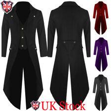 UK Mens Coat Steampunk Vintage Tailcoat Jacket Gothic Victorian Frock Coat S-3XL
