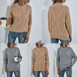 Ladies' Loose Sweater Women's Knitted Twist Pullover Blouse Top Casual Pullover