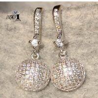 1Pair White Sapphire Ear Drop Dangle Stud 925 Silver Filled long tassel Earrings