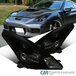 Fit Toyota 00-05 Celica Black Smoke Projector Headlights Head Lamps Left+Right