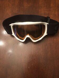 Snow Ski Snowboard White Frame Youth Adjustable Goggles Amber Lens