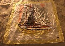 Vintage Designer Vera Neuman Multicolor Sailboat Print Silk Sq 25� Scarf