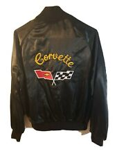 CORVETTE Satin Jacket Black Men's Sz S VINTAGE WESTARK