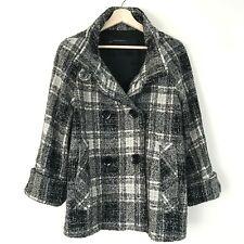Zara Basic Plaid Womens Coat Black and White S   eBay