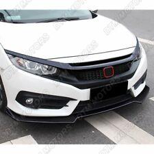 For 16-20 Honda Civic Gen 10Th Black 3-Piece Front Bumper Body Kit Spoiler Lip
