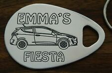Personalised FORD FIESTA car keyring  NEW SHAPE 3 door ANY NAME engraved key fob