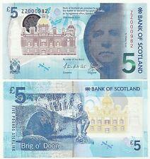 Bank of Scotland Very Special UNC £5 Notes Prefix ZZ000